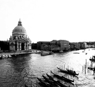 Grand Canal in Black and White featuring the Basillica di Santa Maria della Salute  Order Code: A26